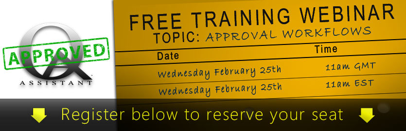 Free QA Assistant Training Webinar on Document Approval Workflows